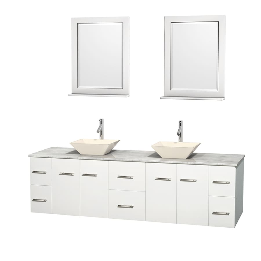 Wyndham Collection Centra White Vessel Double Sink Oak Bathroom Vanity with Natural Marble Top (Mirror Included) (Common: 80-in x 22.5-in; Actual: 80-in x 22.25-in)