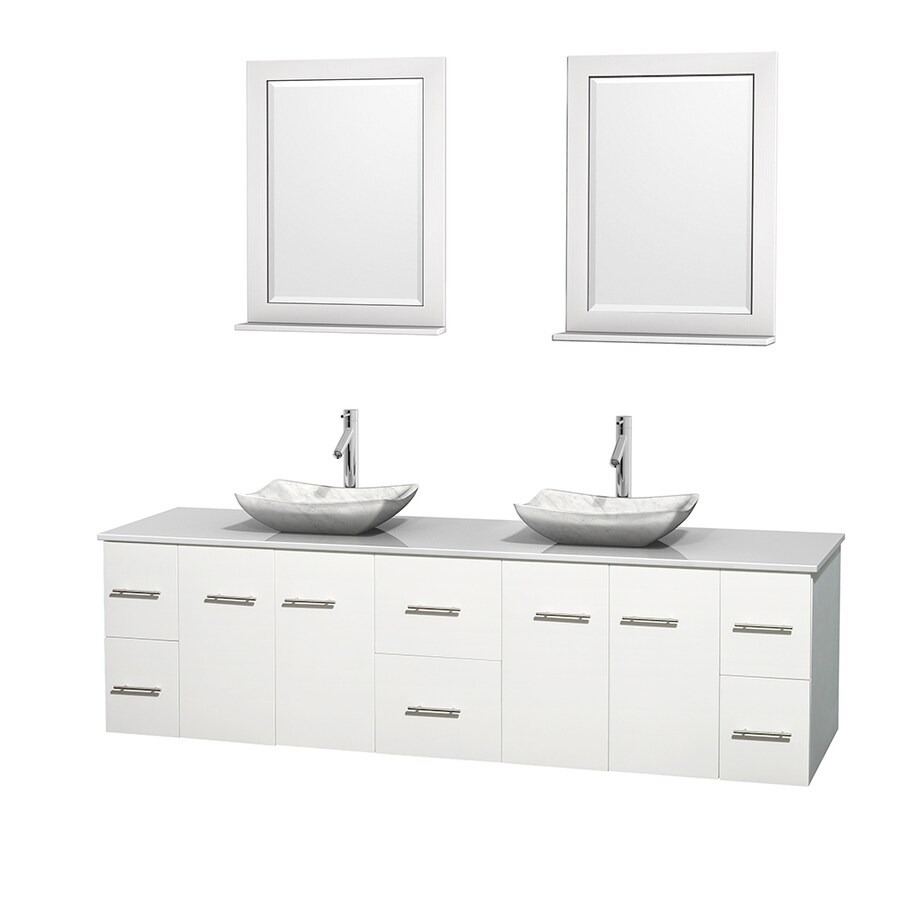 Wyndham Collection Centra White Vessel Double Sink Oak Bathroom Vanity with Engineered Stone Top (Mirror Included) (Common: 80-in x 22.5-in; Actual: 80-in x 22.25-in)