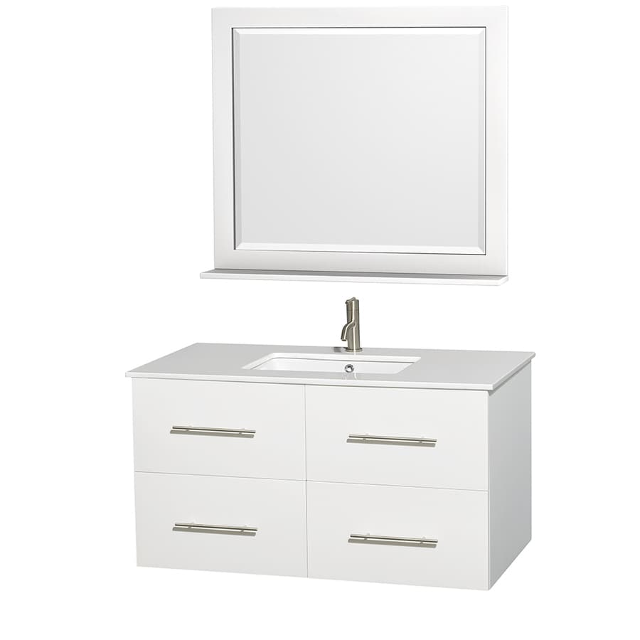 Wyndham Collection Centra White Undermount Single Sink Oak Bathroom Vanity with Engineered Stone Top (Mirror Included) (Common: 42-in x 21.5-in; Actual: 42-in x 21.5-in)