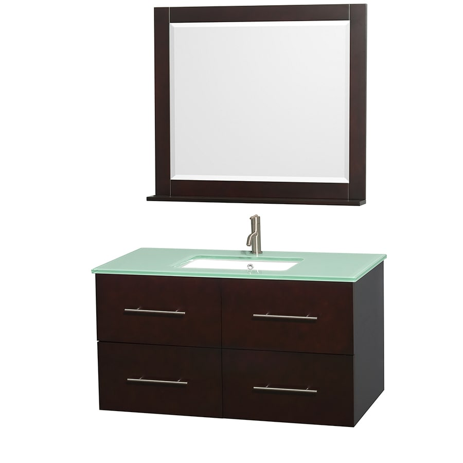 Wyndham Collection Centra Espresso Undermount Single Sink Oak Bathroom Vanity with Tempered Glass and Glass Top (Mirror Included) (Common: 42-in x 21.5-in; Actual: 42-in x 21.5-in)