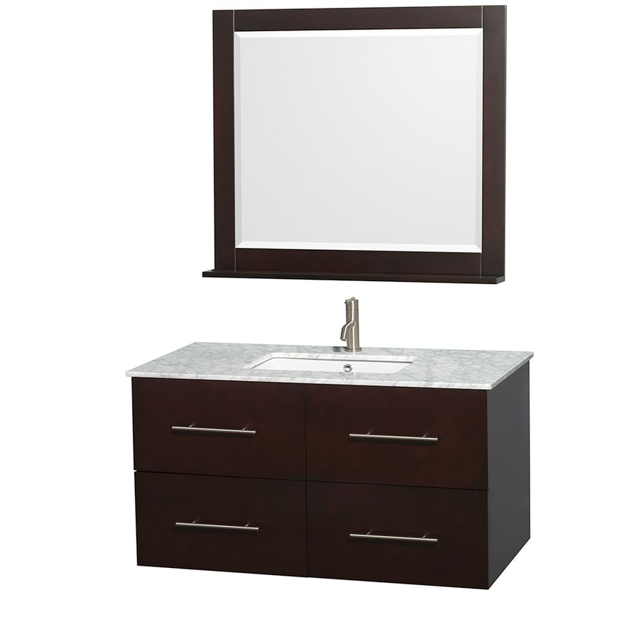 Wyndham Collection Centra Espresso Undermount Single Sink Oak Bathroom Vanity with Natural Marble Top (Mirror Included) (Common: 42-in x 21.5-in; Actual: 42-in x 21.5-in)