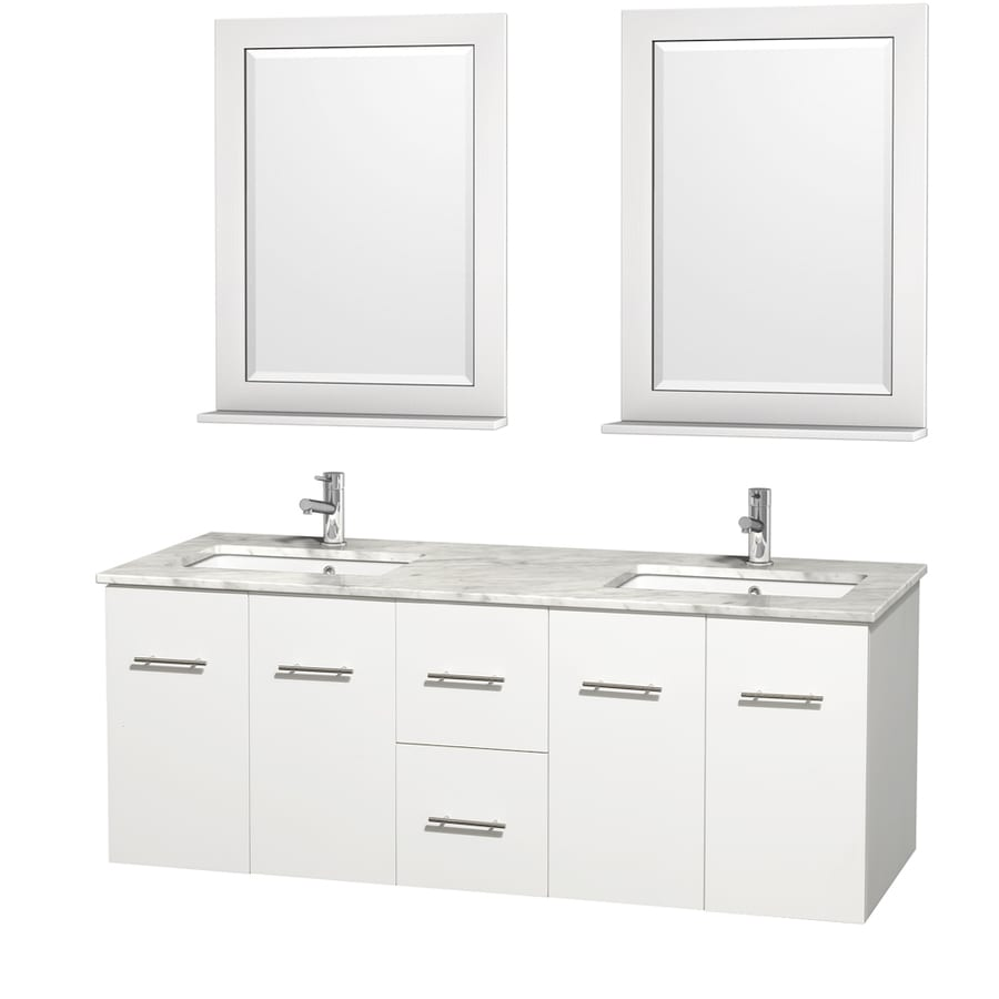 Wyndham Collection Centra White Undermount Double Sink Oak Bathroom Vanity with Natural Marble Top (Mirror Included) (Common: 60-in x 22.5-in; Actual: 60-in x 22.25-in)