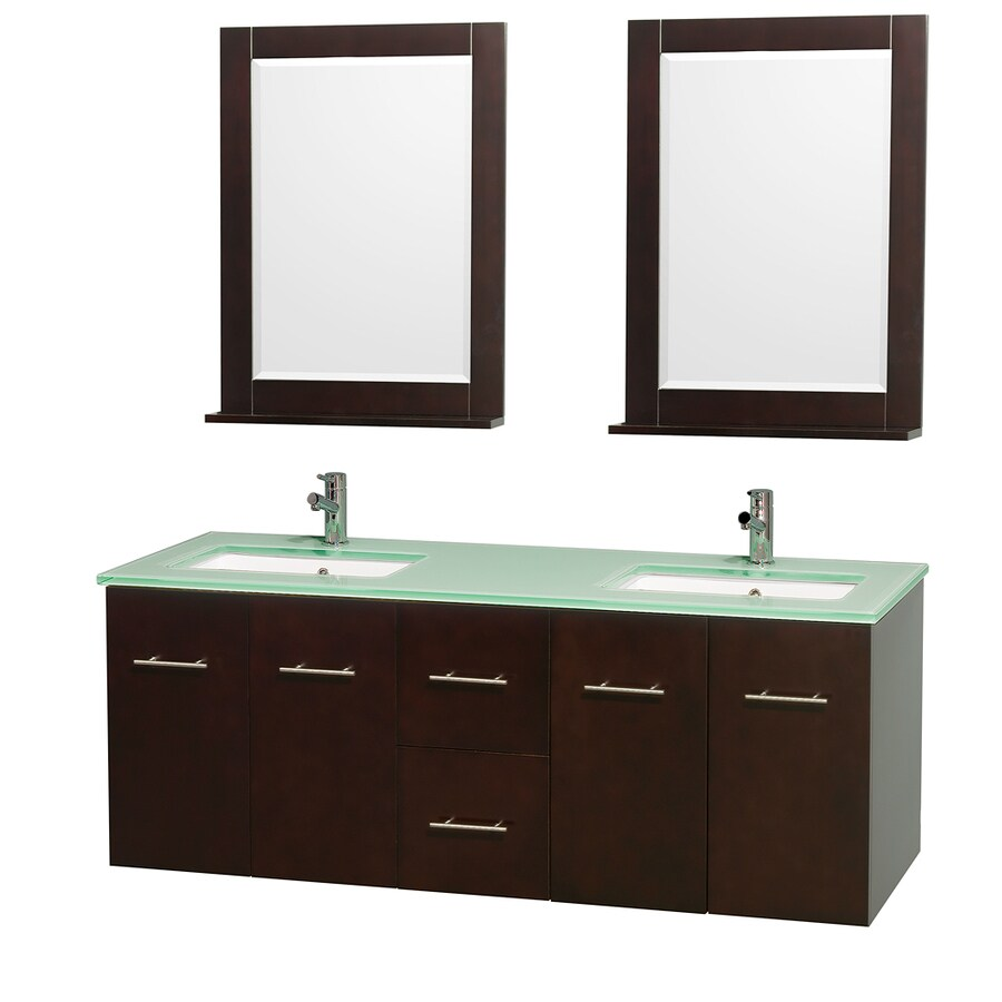 Wyndham Collection Centra Espresso Undermount Double Sink Oak Bathroom Vanity with Tempered Glass and Glass Top (Mirror Included) (Common: 60-in x 22.5-in; Actual: 60-in x 22.25-in)