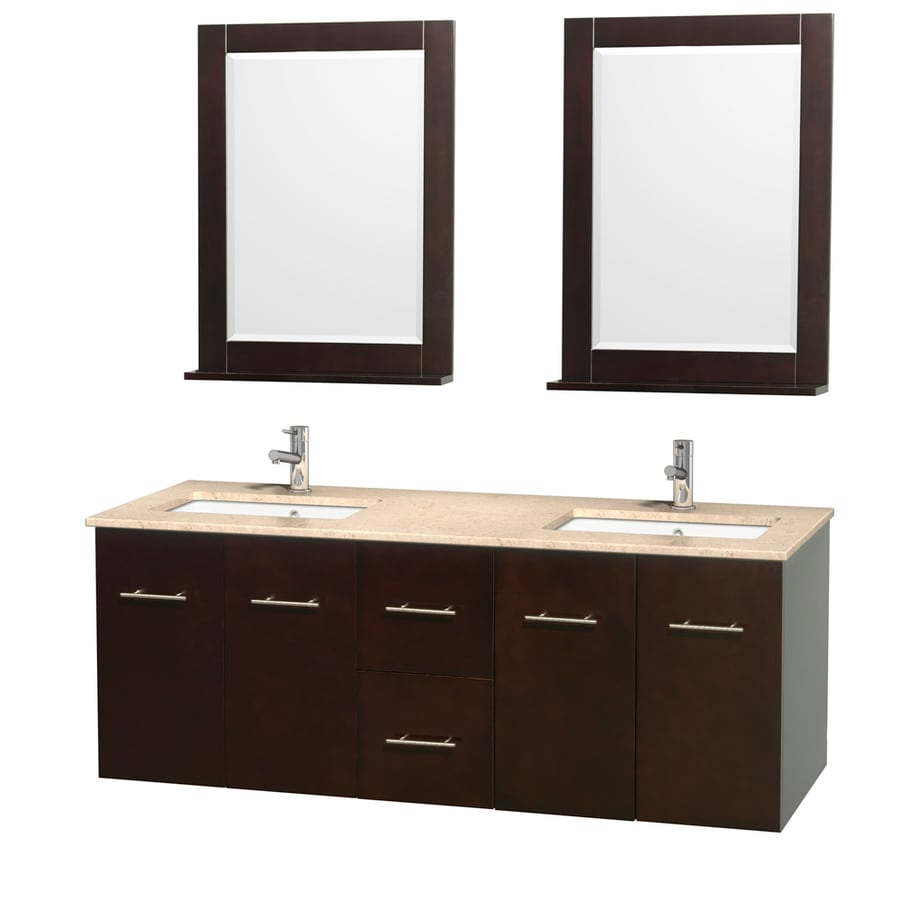 Wyndham Collection Centra Espresso Undermount Double Sink Oak Bathroom Vanity with Natural Marble Top (Mirror Included) (Common: 60-in x 22.5-in; Actual: 60-in x 22.25-in)