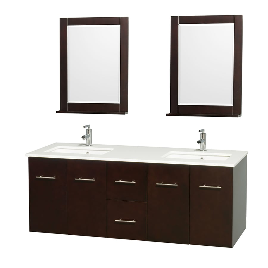 Wyndham Collection Centra Espresso Undermount Double Sink Oak Bathroom Vanity with Engineered Stone Top (Mirror Included) (Common: 60-in x 22.5-in; Actual: 60-in x 22.25-in)
