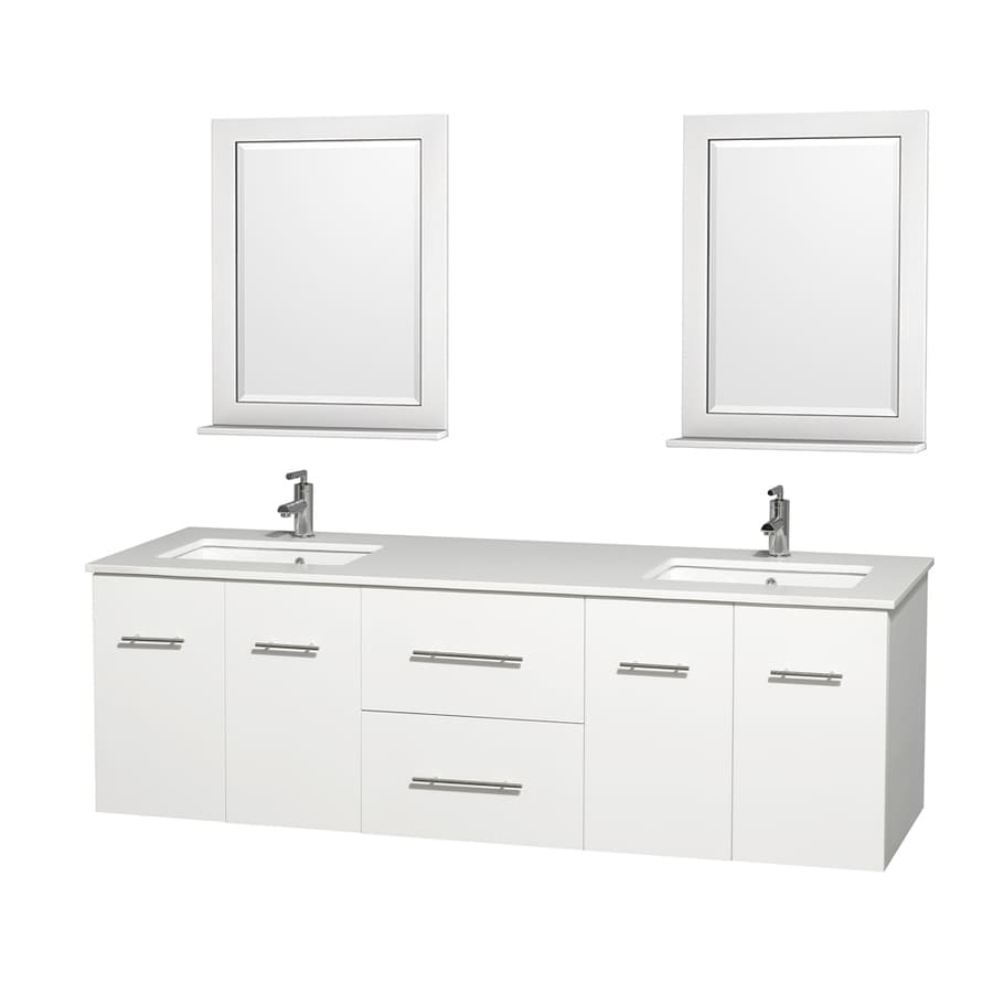 Wyndham Collection Centra White Undermount Double Sink Oak Bathroom Vanity with Engineered Stone Top (Mirror Included) (Common: 72-in x 22.5-in; Actual: 72-in x 22.25-in)