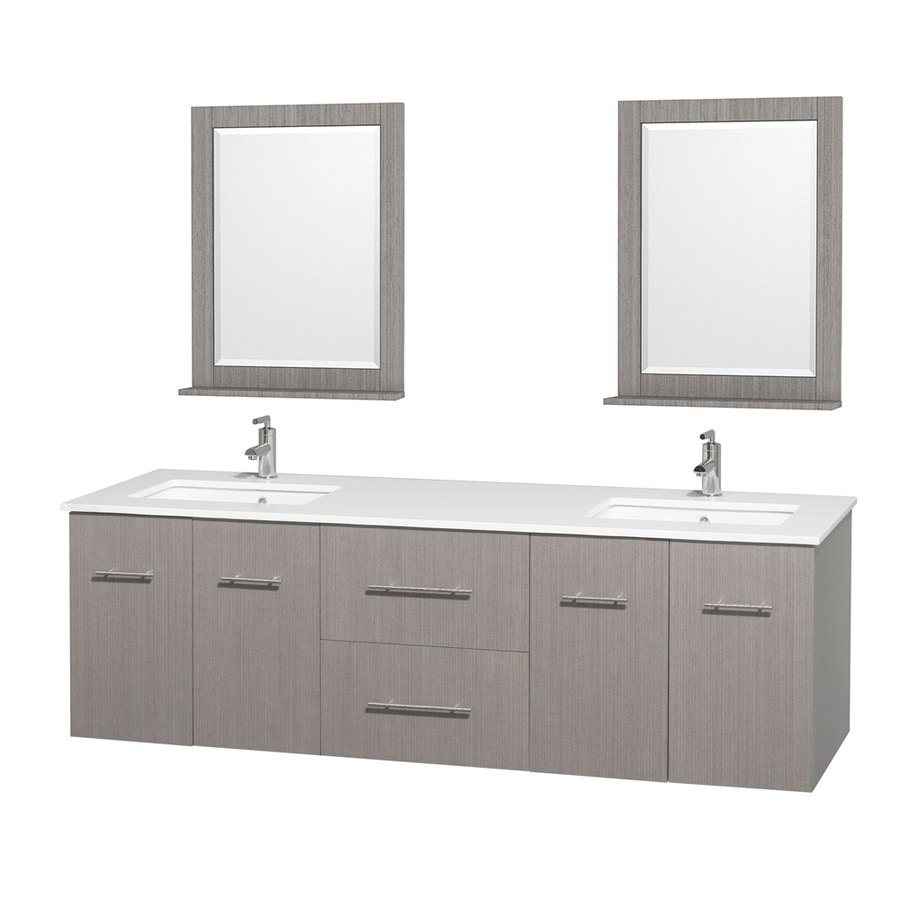 Wyndham Collection Centra Gray Oak Undermount Double Sink Oak Bathroom Vanity with Engineered Stone Top (Mirror Included) (Common: 72-in x 22.5-in; Actual: 72-in x 22.25-in)
