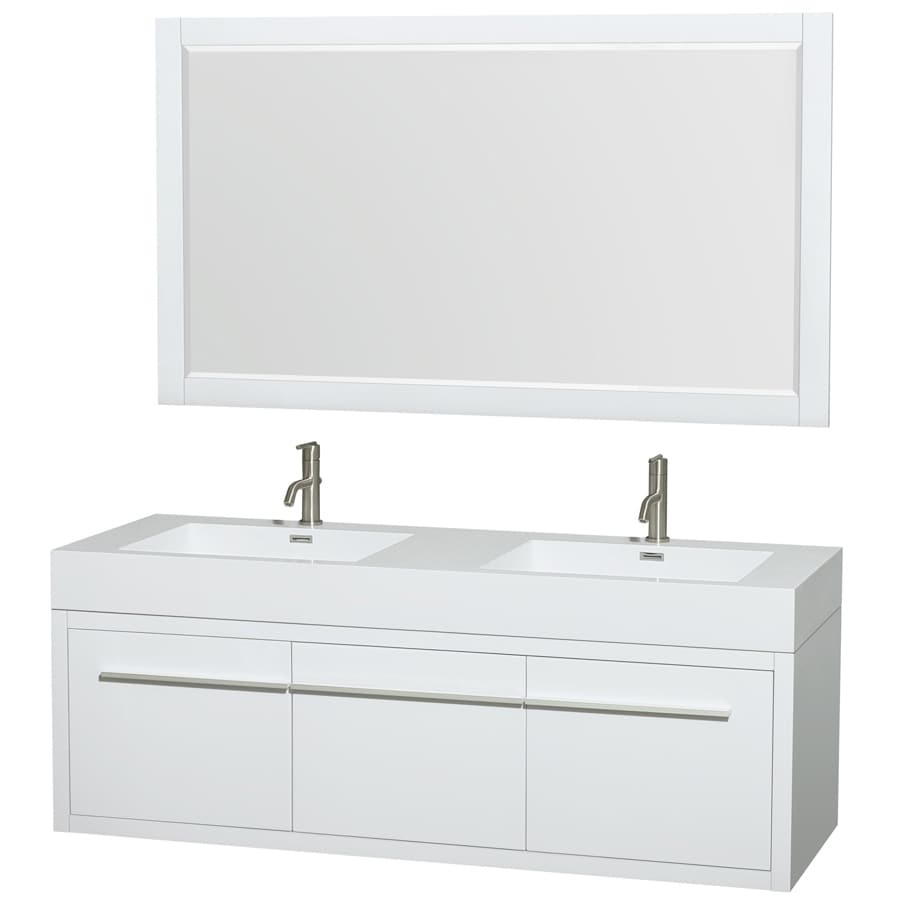 Shop Wyndham Collection Axa White Integral Double Sink Bathroom Vanity With Engineered Stone Top