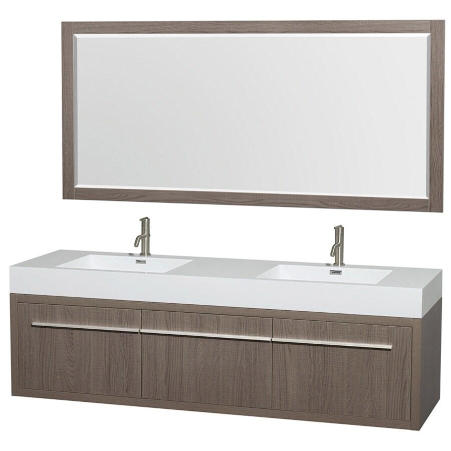 shop wyndham collection axa gray oak integral double sink