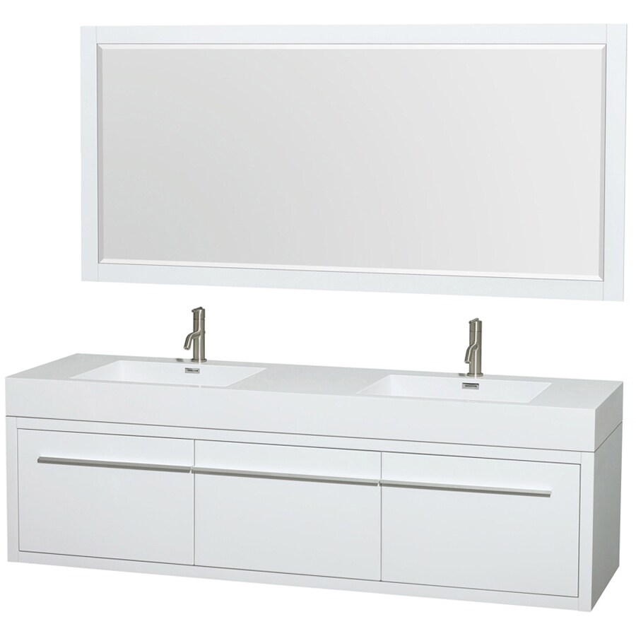 Wyndham Collection Axa White Integral Double Sink Bathroom Vanity with Engineered Stone Top (Mirror Included) (Common: 72-in x 22-in; Actual: 72-in x 21.75-in)