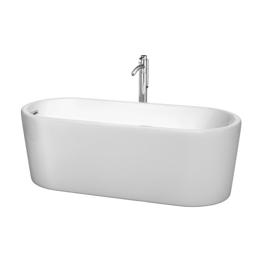 Wyndham Collection Ursula White Acrylic Oval Freestanding Bathtub with Left-Hand Drain (Common: 27-in x 67-in; Actual: 23-in x 27.5-in x 67-in)