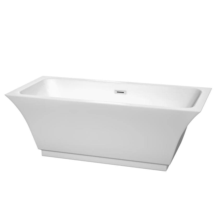 Wyndham Collection Galina White Acrylic Rectangular Freestanding Bathtub with Reversible Drain (Common: 31-in x 67-in; Actual: 23.75-in x 31.25-in x 67-in)