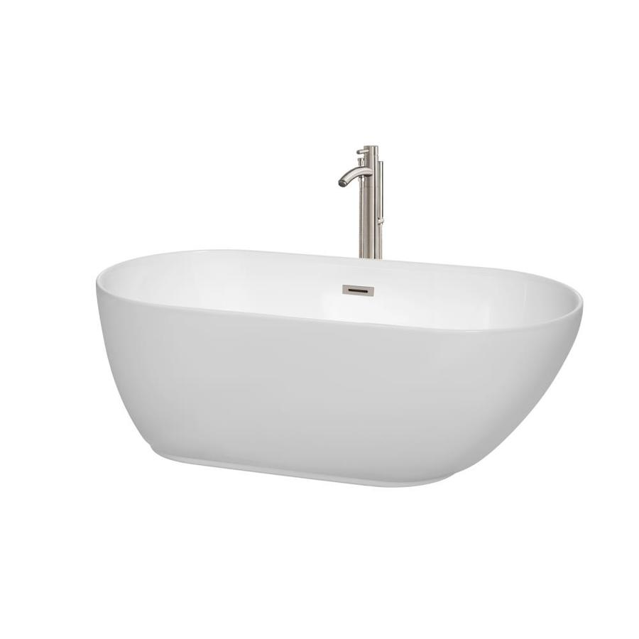 Wyndham Collection Melissa White Acrylic Oval Freestanding Bathtub with Center Drain (Common: 29-in x 60-in; Actual: 21.5-in x 29.25-in x 60-in)