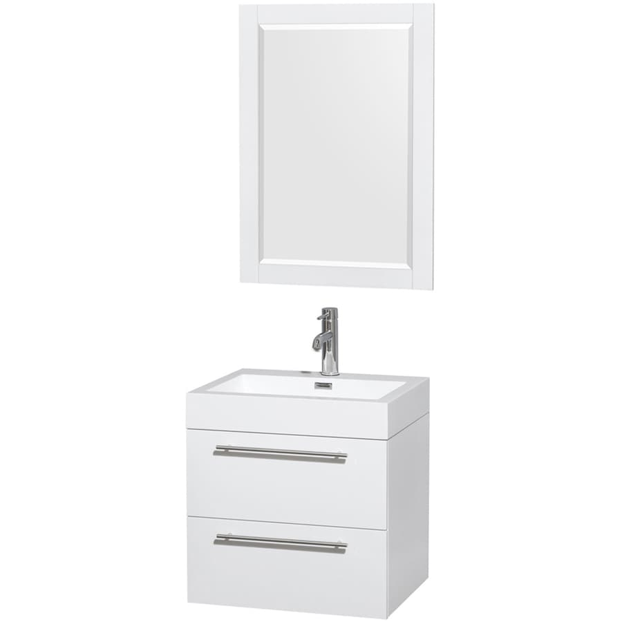 Wyndham Collection Amare White Integral Single Sink Bathroom Vanity with Solid Surface Top (Mirror Included) (Common: 23-in x 19-in; Actual: 23-in x 19-in)