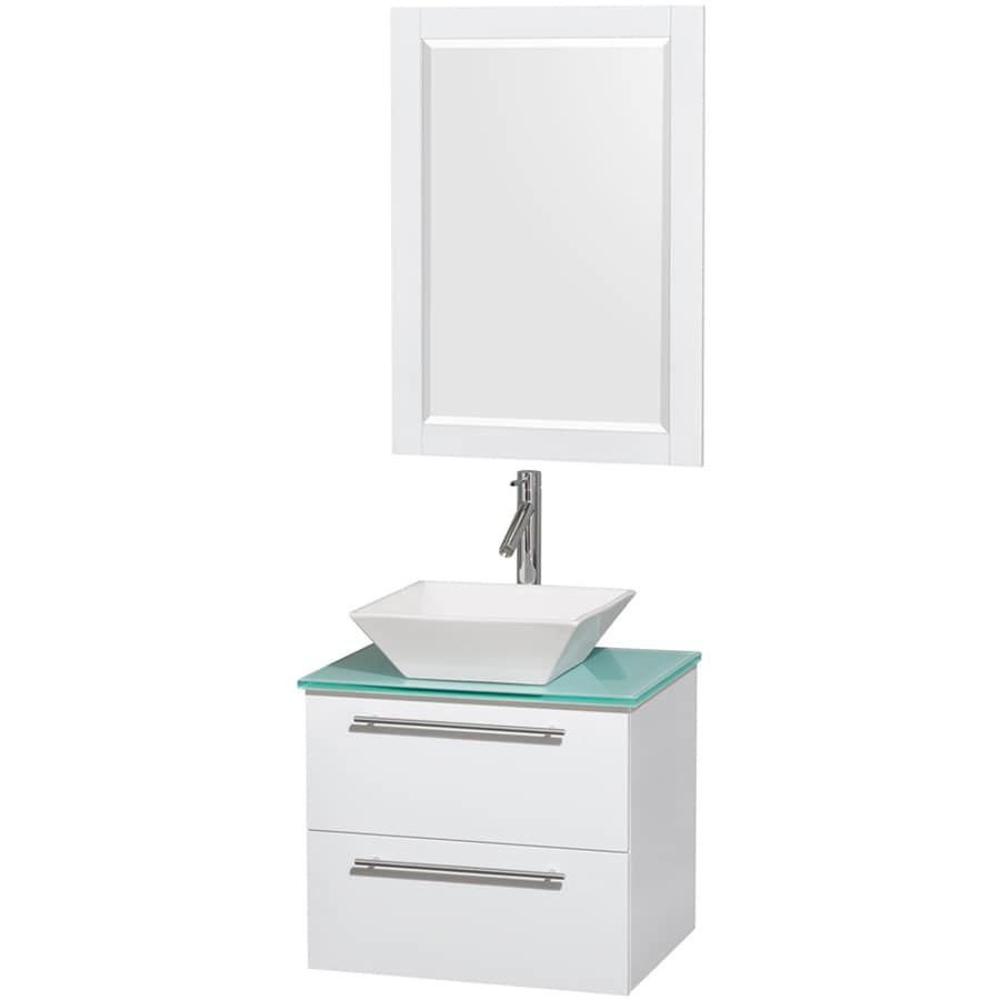 Wyndham Collection Amare White Vessel Single Sink Bathroom Vanity with Tempered Glass and Glass Top (Mirror Included) (Common: 24-in x 20-in; Actual: 24-in x 19.5-in)