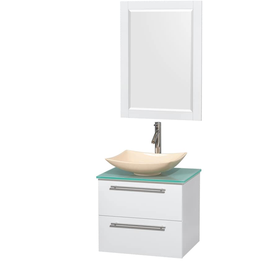 Wyndham Collection Amare Glossy White Vessel Single Sink Bathroom Vanity with Tempered Glass and Glass Top (Mirror Included) (Common: 24-in x 20-in; Actual: 24-in x 19.5-in)