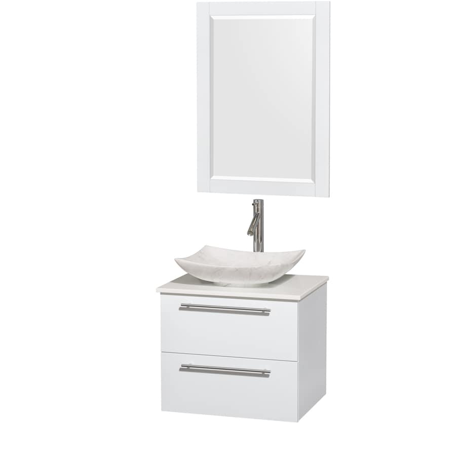 Wyndham Collection Amare Glossy White Vessel Single Sink Bathroom Vanity with Engineered Stone Top (Mirror Included) (Common: 24-in x 20-in; Actual: 24-in x 19.5-in)