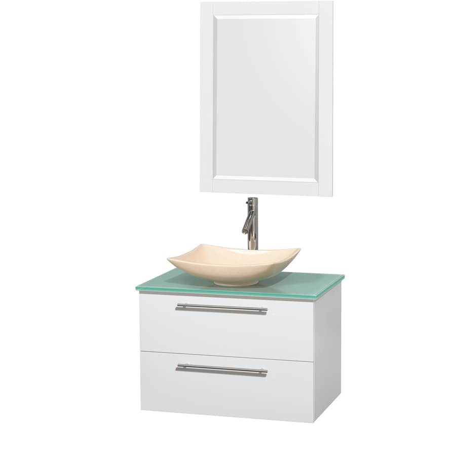 Wyndham Collection Amare Glossy White Vessel Single Sink Bathroom Vanity with Tempered Glass and Glass Top (Mirror Included) (Common: 30-in x 21-in; Actual: 30-in x 20.5-in)