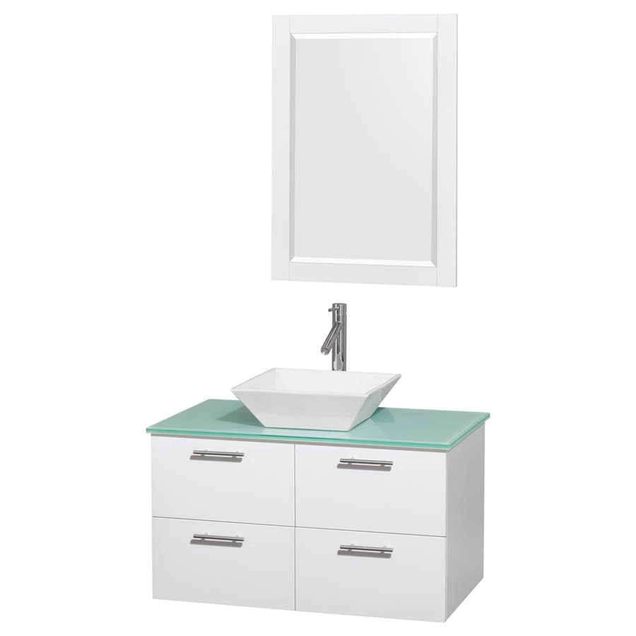 Wyndham Collection Amare White Vessel Single Sink Bathroom Vanity with Tempered Glass and Glass Top (Mirror Included) (Common: 36-in x 21.5-in; Actual: 36-in x 21.5-in)