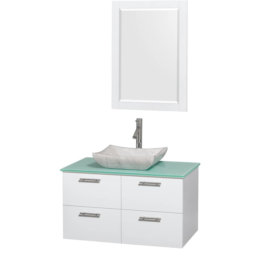Wyndham Collection Amare Glossy White Vessel Single Sink Bathroom Vanity with Tempered Glass and Glass Top (Mirror Included) (Common: 36-in x 22-in; Actual: 36-in x 21.5-in)