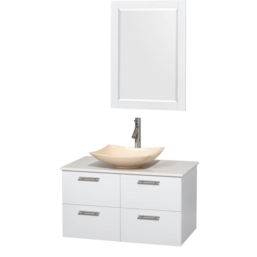 Wyndham Collection Amare Glossy White Vessel Single Sink Bathroom Vanity with Engineered Stone Top (Mirror Included) (Common: 36-in x 22-in; Actual: 36-in x 21.5-in)