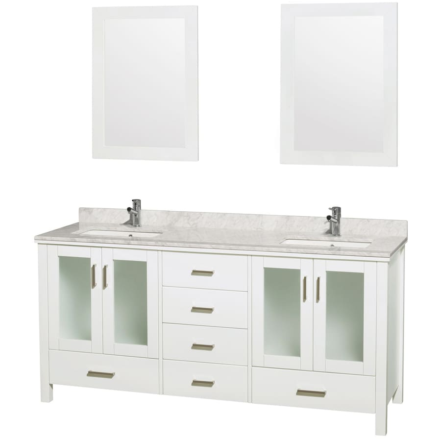 Wyndham Collection Lucy White Undermount Double Sink Oak Bathroom Vanity with Natural Marble Top (Mirror Included) (Common: 72-in x 23-in; Actual: 72-in x 22.75-in)