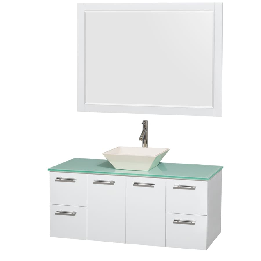 Wyndham Collection Amare Glossy White Vessel Single Sink Bathroom Vanity with Tempered Glass and Glass Top (Mirror Included) (Common: 48-in x 22-in; Actual: 48-in x 21.75-in)