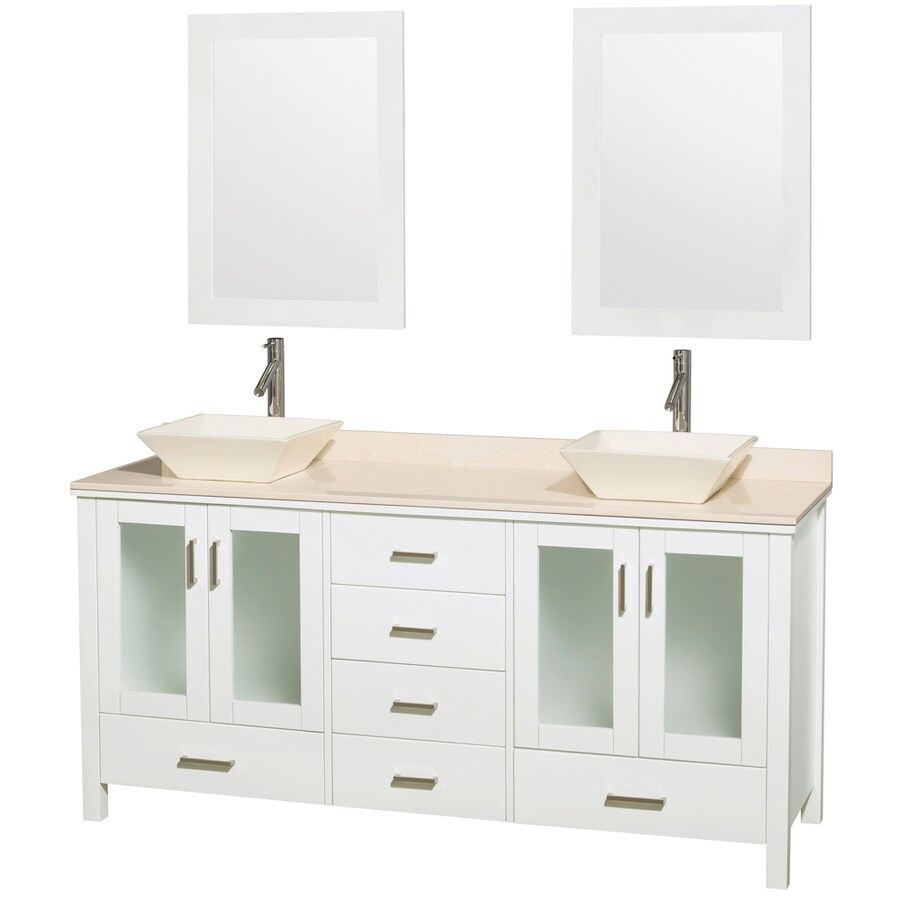 Wyndham Collection Lucy White Vessel Double Sink Oak Bathroom Vanity with Natural Marble Top (Mirror Included) (Common: 72-in x 23-in; Actual: 72-in x 22.75-in)