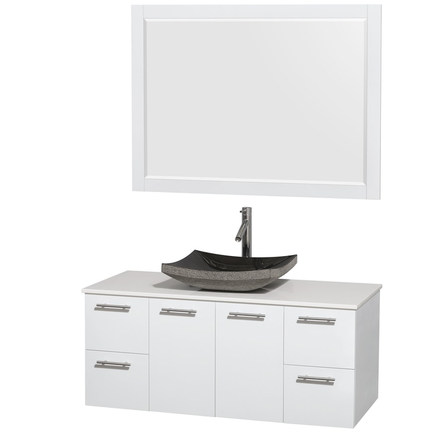 Wyndham Collection Amare Glossy White Vessel Single Sink Bathroom Vanity with Engineered Stone Top (Mirror Included) (Common: 48-in x 22-in; Actual: 48-in x 21.75-in)