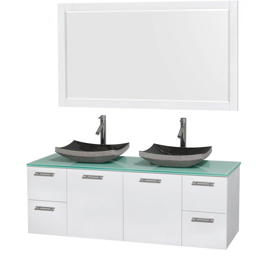 Wyndham Collection Amare Glossy White Vessel Double Sink Bathroom Vanity with Tempered Glass and Glass Top (Mirror Included) (Common: 60-in x 22-in; Actual: 60-in x 22.25-in)