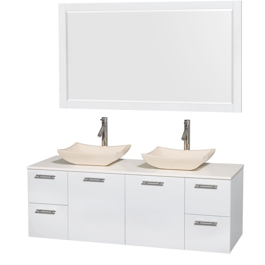 Wyndham Collection Amare Glossy White Vessel Double Sink Bathroom Vanity with Engineered Stone Top (Mirror Included) (Common: 60-in x 22-in; Actual: 60-in x 22.25-in)