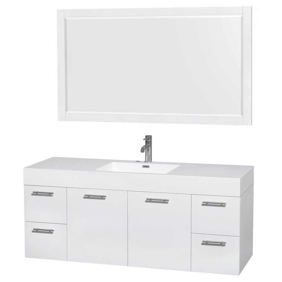 Wyndham Collection Amare White Integral Single Sink Bathroom Vanity with Solid Surface Top (Mirror Included) (Common: 60-in x 22-in; Actual: 60-in x 21.75-in)