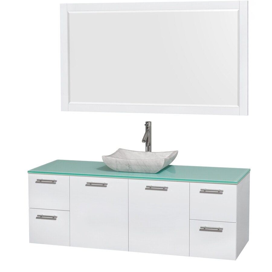 Wyndham Collection Amare Glossy White Vessel Single Sink Bathroom Vanity with Tempered Glass and Glass Top (Mirror Included) (Common: 60-in x 22-in; Actual: 60-in x 22.25-in)