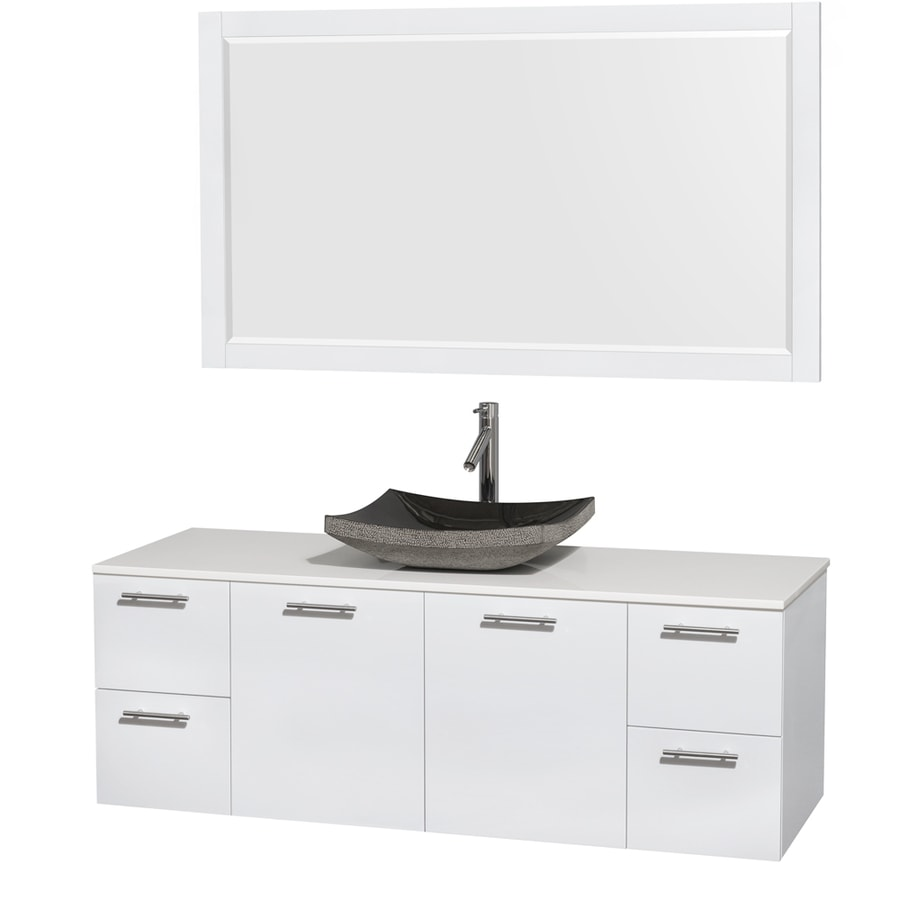 Wyndham Collection Amare Glossy White Vessel Single Sink Bathroom Vanity with Engineered Stone Top (Mirror Included) (Common: 60-in x 22-in; Actual: 60-in x 22.25-in)