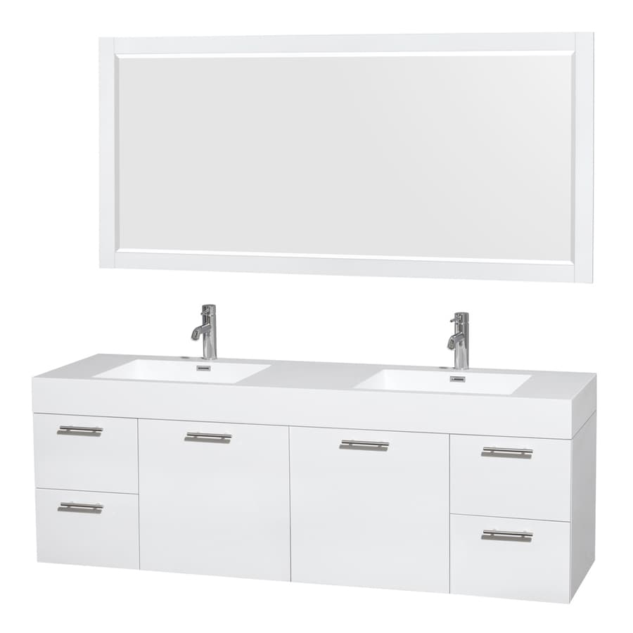 Wyndham Collection Amare White Integral Double Sink Bathroom Vanity with Solid Surface Top (Mirror Included) (Common: 72-in x 22-in; Actual: 72-in x 21.75-in)