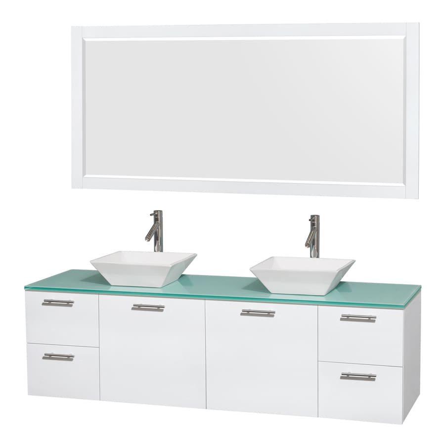 Wyndham Collection Amare White Vessel Double Sink Bathroom Vanity with Tempered Glass and Glass Top (Mirror Included) (Common: 72-in x 22-in; Actual: 72-in x 22.25-in)
