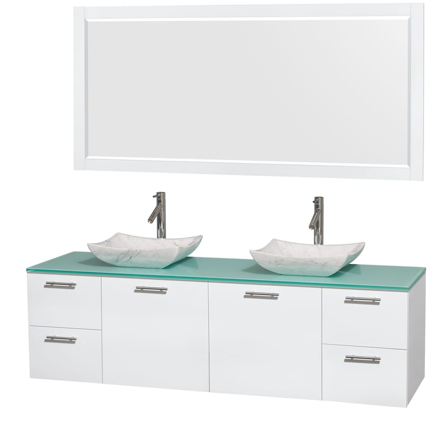 Wyndham Collection Amare Glossy White Vessel Double Sink Bathroom Vanity with Tempered Glass and Glass Top (Mirror Included) (Common: 72-in x 22-in; Actual: 72-in x 22.25-in)