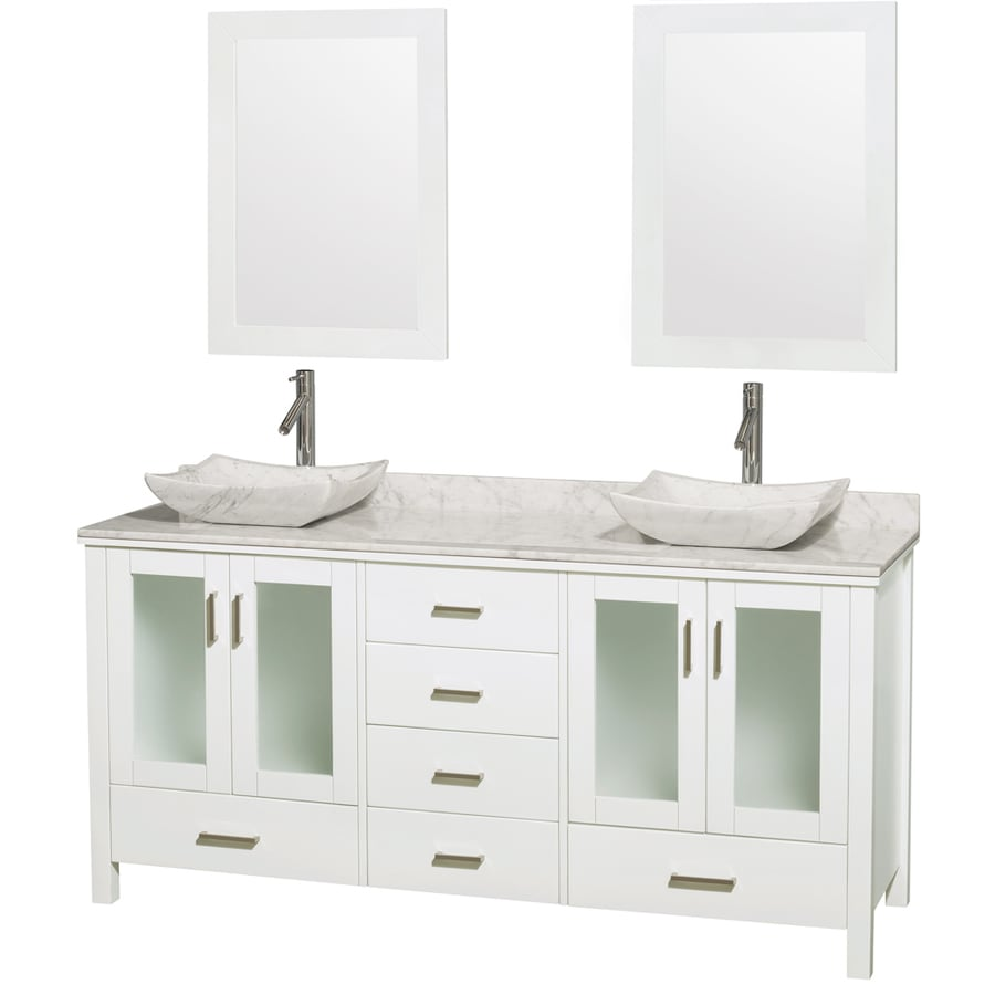 Wyndham Collection Lucy White Vessel Double Sink Oak Bathroom Vanity with Natural Marble Top (Mirror Included) (Common: 72-in x 22.5-in; Actual: 72-in x 22.75-in)