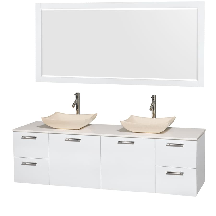 Wyndham Collection Amare Glossy White Vessel Double Sink Bathroom Vanity with Engineered Stone Top (Mirror Included) (Common: 72-in x 22-in; Actual: 72-in x 22.25-in)