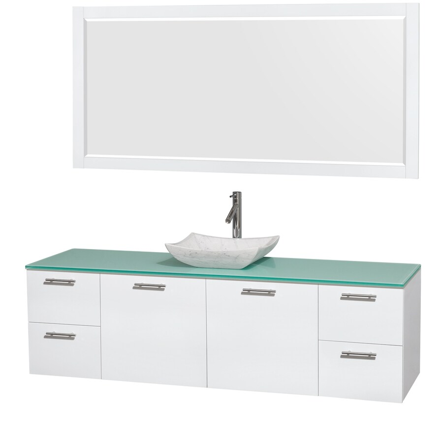 Wyndham Collection Amare Glossy White Vessel Single Sink Bathroom Vanity with Tempered Glass and Glass Top (Mirror Included) (Common: 72-in x 22-in; Actual: 72-in x 22.25-in)