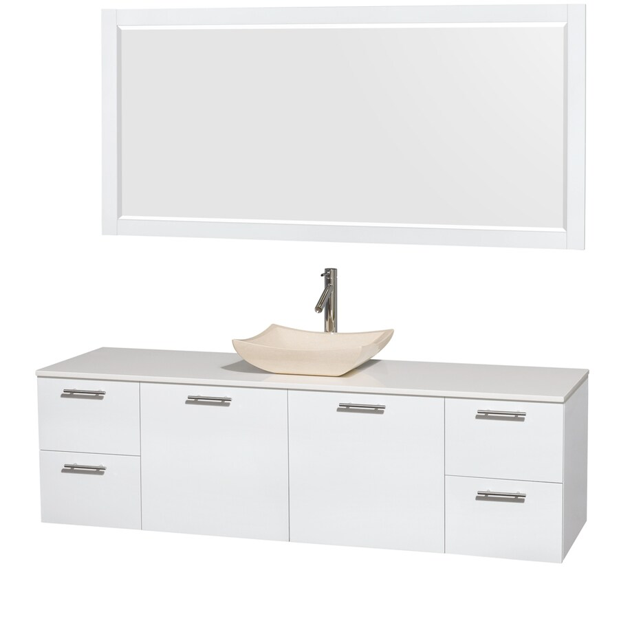 Wyndham Collection Amare Glossy White Vessel Single Sink Bathroom Vanity with Engineered Stone Top (Mirror Included) (Common: 72-in x 22-in; Actual: 72-in x 22.25-in)