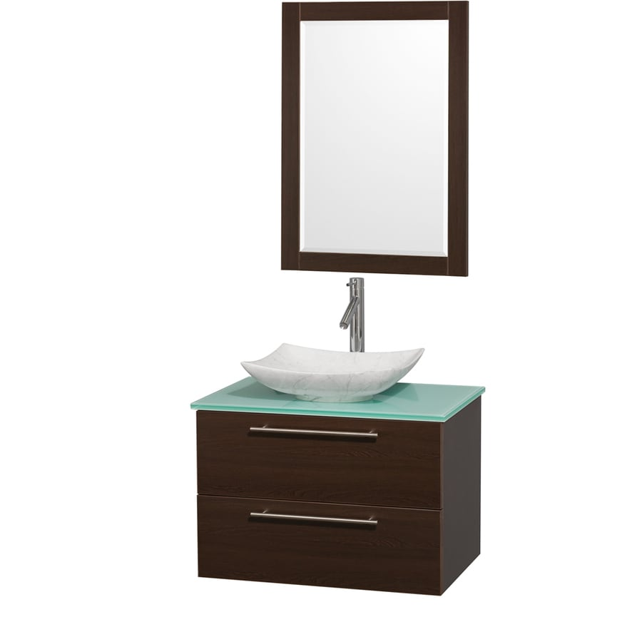 Wyndham Collection Amare Espresso Vessel Single Sink Bathroom Vanity with Tempered Glass and Glass Top (Mirror Included) (Common: 30-in x 21-in; Actual: 30-in x 20.5-in)