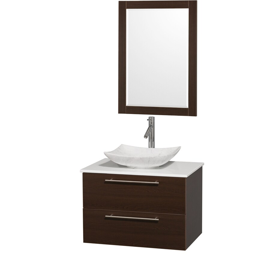 Wyndham Collection Amare Espresso Vessel Single Sink Bathroom Vanity with Engineered Stone Top (Mirror Included) (Common: 30-in x 21-in; Actual: 30-in x 20.5-in)