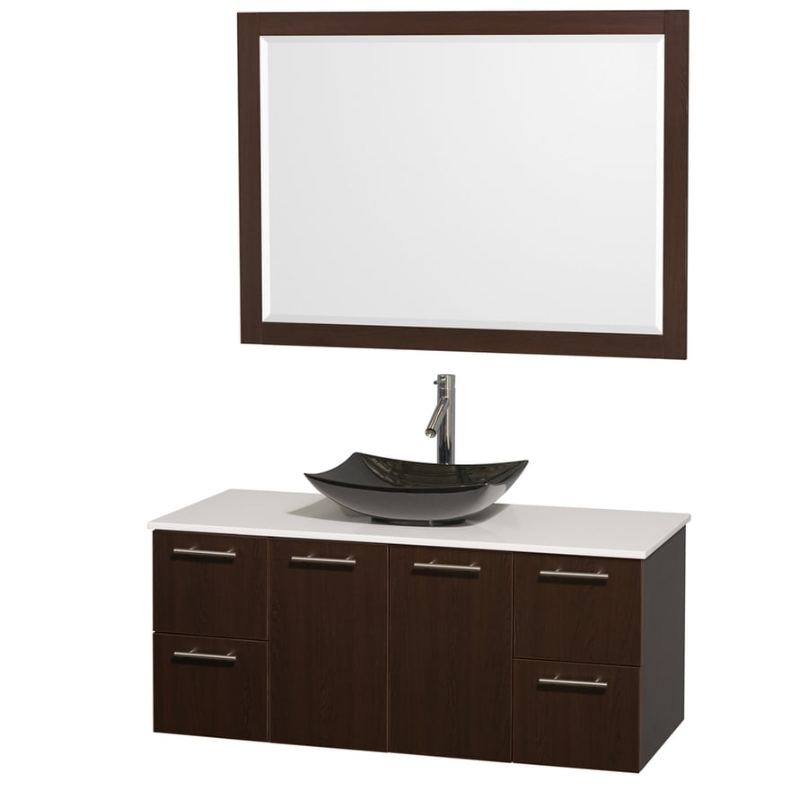 Wyndham Collection Amare Espresso Vessel Single Sink Bathroom Vanity with Engineered Stone Top (Mirror Included) (Common: 48-in x 22-in; Actual: 48-in x 21.75-in)