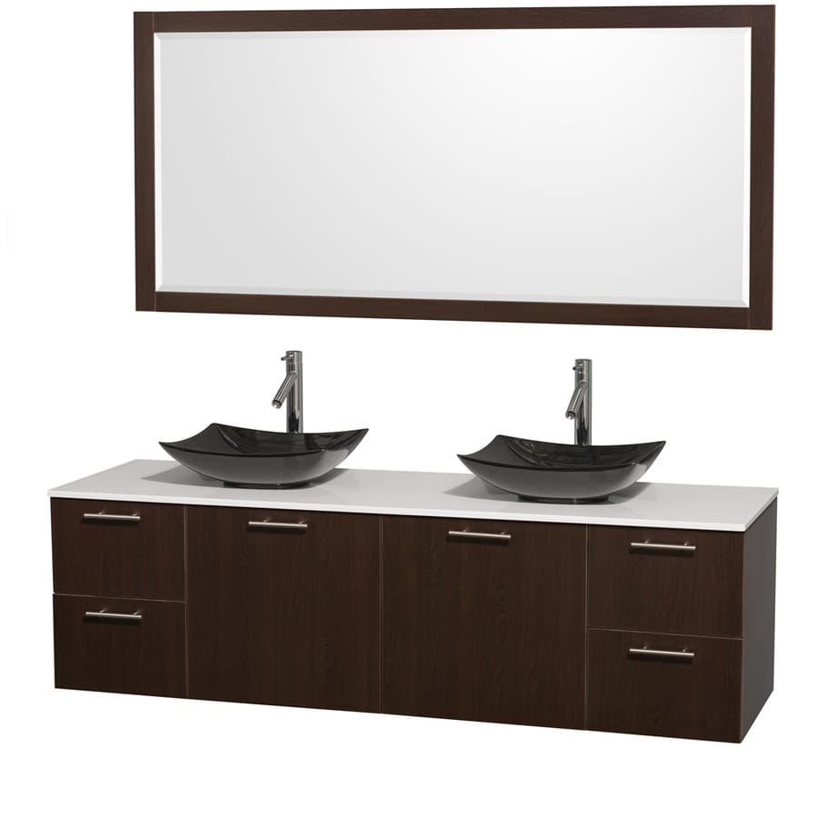 Wyndham Collection Amare Espresso Vessel Double Sink Bathroom Vanity with Engineered Stone Top (Mirror Included) (Common: 72-in x 22-in; Actual: 72-in x 22.25-in)