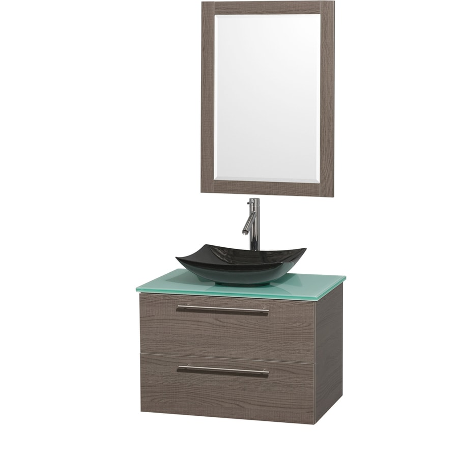 Wyndham Collection Amare Grey Oak Vessel Single Sink Bathroom Vanity with Tempered Glass and Glass Top (Mirror Included) (Common: 30-in x 21-in; Actual: 30-in x 20.5-in)