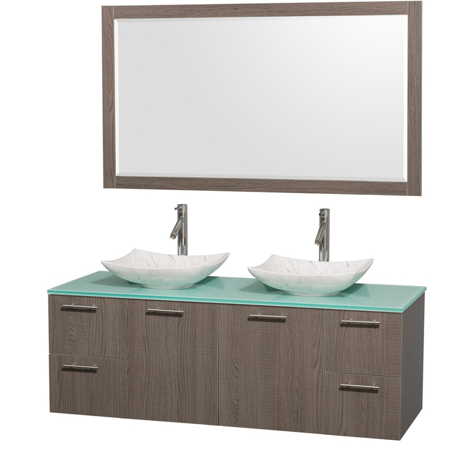 Wyndham Collection Amare Grey Oak Vessel Double Sink Bathroom Vanity with Tempered Glass and Glass Top (Mirror Included) (Common: 60-in x 22-in; Actual: 60-in x 22.25-in)