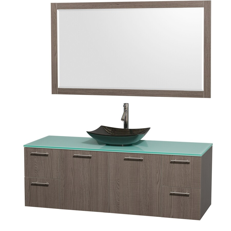 Wyndham Collection Amare Grey Oak Vessel Single Sink Bathroom Vanity with Tempered Glass and Glass Top (Mirror Included) (Common: 60-in x 22-in; Actual: 60-in x 22.25-in)
