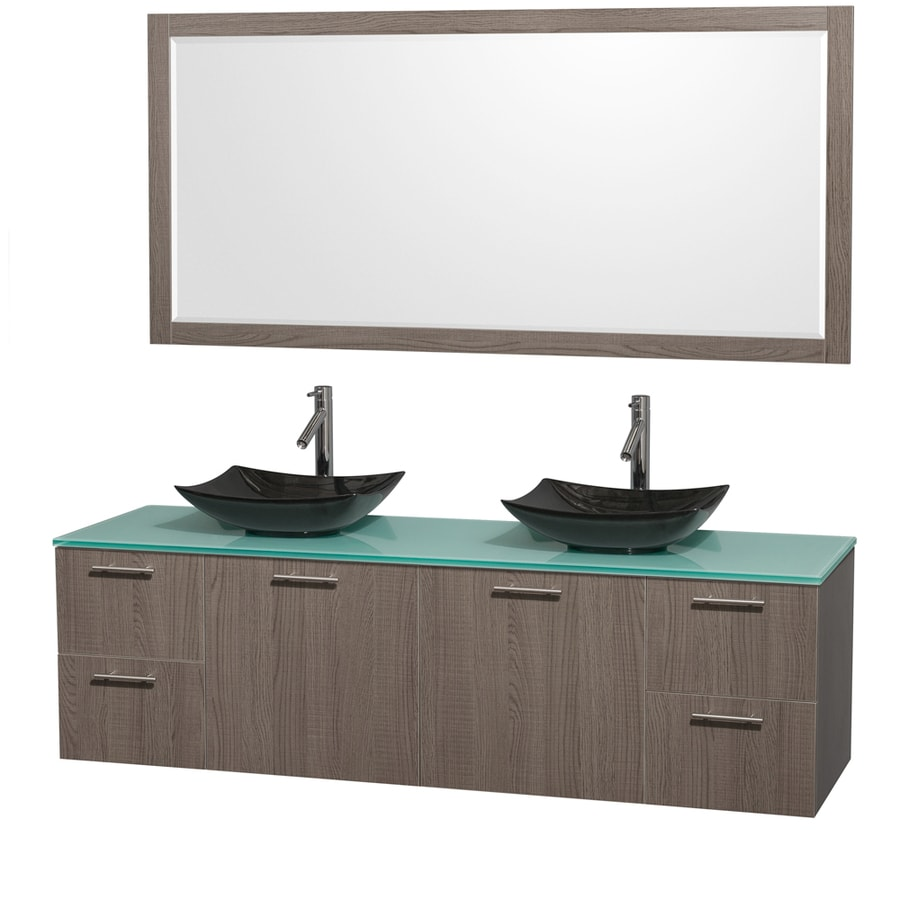 Wyndham Collection Amare Grey Oak Vessel Double Sink Bathroom Vanity with Tempered Glass and Glass Top (Mirror Included) (Common: 72-in x 22-in; Actual: 72-in x 22.25-in)