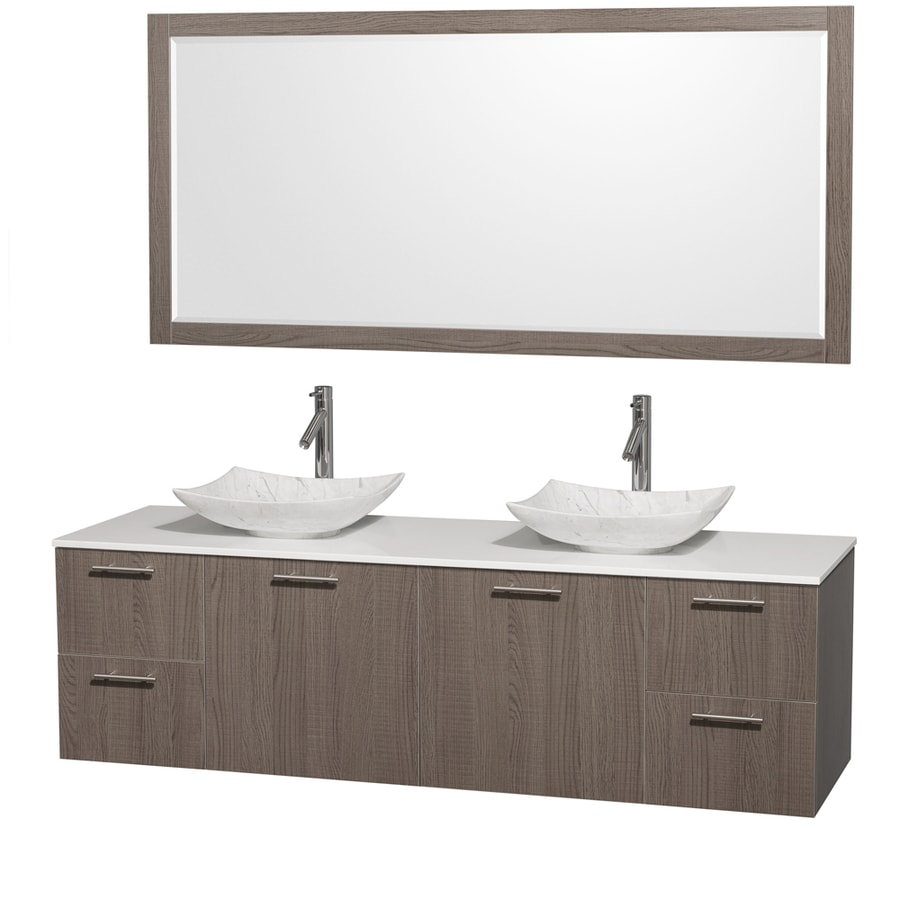 Wyndham Collection Amare Grey Oak Vessel Double Sink Bathroom Vanity with Engineered Stone Top (Mirror Included) (Common: 72-in x 22-in; Actual: 72-in x 22.25-in)
